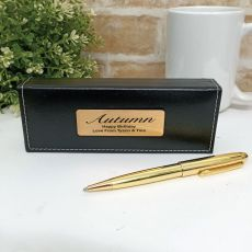 Birthday Gloss Gold Twist Pen Personalised Box