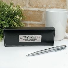 50th  Birthday Silver S/S Twist Pen in Personalised Box