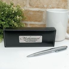 80th Birthday Silver S/S Twist Pen in Personalised Box