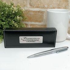 Bestman Silver S/S Twist Pen in Personalised Box