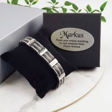 Stainless Steel & Silicone Bracelet In Personalised Box