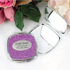 Bridesmaid Personalised Compact Mirror 6 Glitter Colours