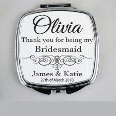 Bridesmaid Compact Mirror Typography Print