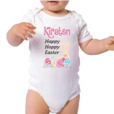 Personalised Happy Easter Bodysuit - Pink