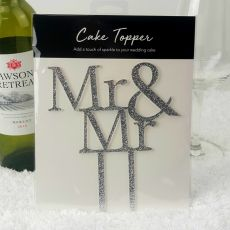 Mr & Mr Glitter Wedding Cake Topper