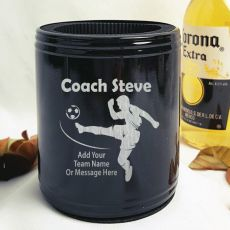 Soccer Coach Engraved Black Stubby Can Cooler Personalised Messag