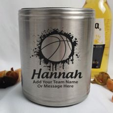 Basketball Coach Engraved Silver Stubby Can Cooler Personalised Message
