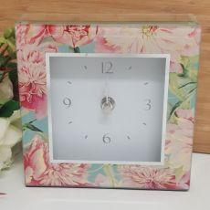 Glass Desk Clock - Peony
