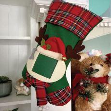 Dog Photo Christmas Stocking - Green