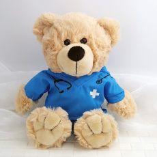 Teddy Bear with Blue Nurse Doctor Scrubs
