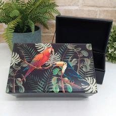 Black Glass Trinket Box - Birds