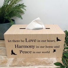 Woodcraft Tissue Box Cover - Love