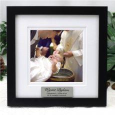 Personalised Christening Instagram Photo Frame 5x5 White/Black Wood