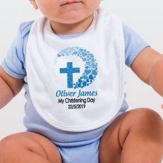 Personalised Baby Boy Christening Bib