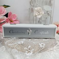 Christening Certificate Holder White Wood