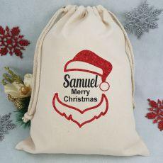 Personalised Christmas Santa Sack 40cm - Glitter Santa