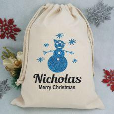 Personalised Christmas Santa Sack - Glitter Snowman