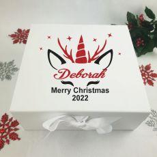 Personalised White Christmas Box - Unicorn