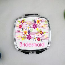 Personalised Bridesmaid Compact Mirror Garland Flowers
