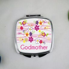 Godmother Personalsied Compact Mirror Gift Garland Flowers