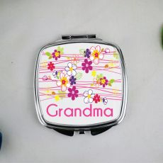 Grandma Compact Mirror Gift -Garland Flowers