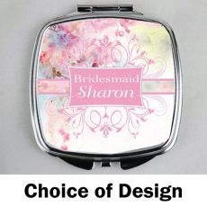 Bridesmaid Personalised Compact Mirror Assorted Designs