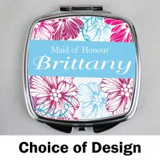 Maid of Honour Personalised Compact Mirror Assorted Designs