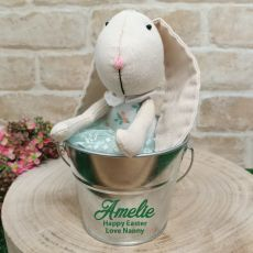 Personalised Ballerina Easter Bunny in Silver Bucket - Green