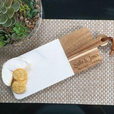 Personalised Wedding Cheese Board Marble/Acacia