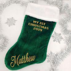 1st Christmas Stocking 55cm Plush Green