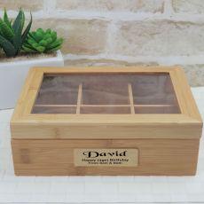 Birthday Personalised Bamboo Tea Box -6 Section