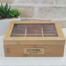 Personalised Grandpa Bamboo Tea box 6 Section Hinged Lid