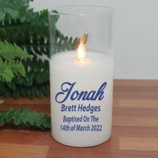 Personalised Baptised LED Glass Jar Candle