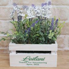 Lavender Flower Box with Personlised Volunteer Inscription