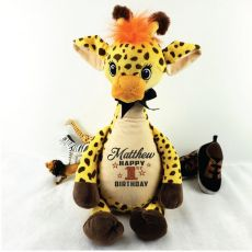 Personalised Birthday Giraffe Cubbie Plush
