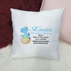 Personalised Cushion Cover Dinosaur Blue
