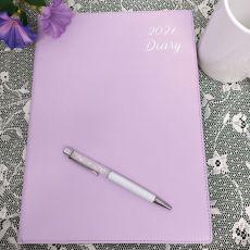 2021 Diary A4 DTP - Lavender White Pen