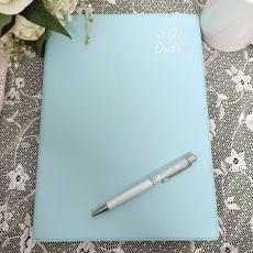 2021 Diary A4 DTP - Blue White Pen