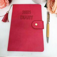 2021 Diary A5 WTV - Fuchsia Tassle Gold Pen