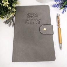 2021 Diary A5 WTV - Grey Tassle Gold Pen