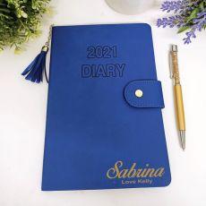 Personalised 2021 Diary A5 WTV - Blue Tassle