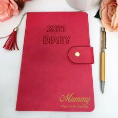 Personalised 2021 Mum Diary A5 WTV - Fuchsia Tassle