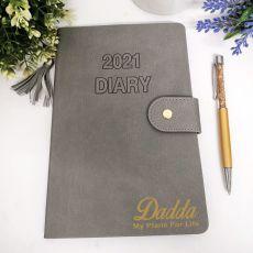 Personalised 2021 Dad Diary A5 WTV - Grey Tassle