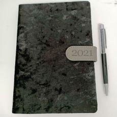 2021 Diary A5 DTP - Black Flock Black Pen