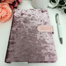 2021 Diary A5 DTP - Blush Flock White Pen
