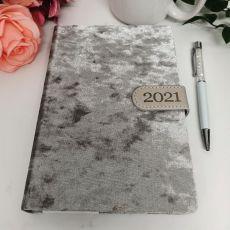2021 Diary A5 DTP - Silver Flock White Pen
