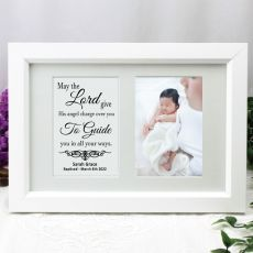 Baptism Photo Frame Typography Print 4x6 White