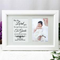 Baptism Photo Frame Typography Print 4x6 White