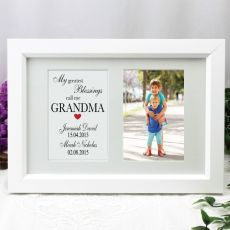 Grandma Blessings Photo Frame Typography Print 4x6 White