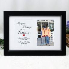 Nana Blessings  Photo Frame Typography Print 4x6 Black
